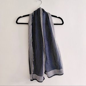 Vintage Lightweight Polka Dots and Stripes Scarf